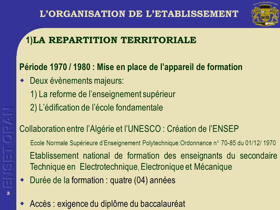 14 LORGANISATION DE LETABLISSEMENT Léquipe de direction est composée du Directeur assisté dun conseil de coordination et de planification et dun conseil de direction (dècret n° 81- 245 du 5 septembre 1981 ).