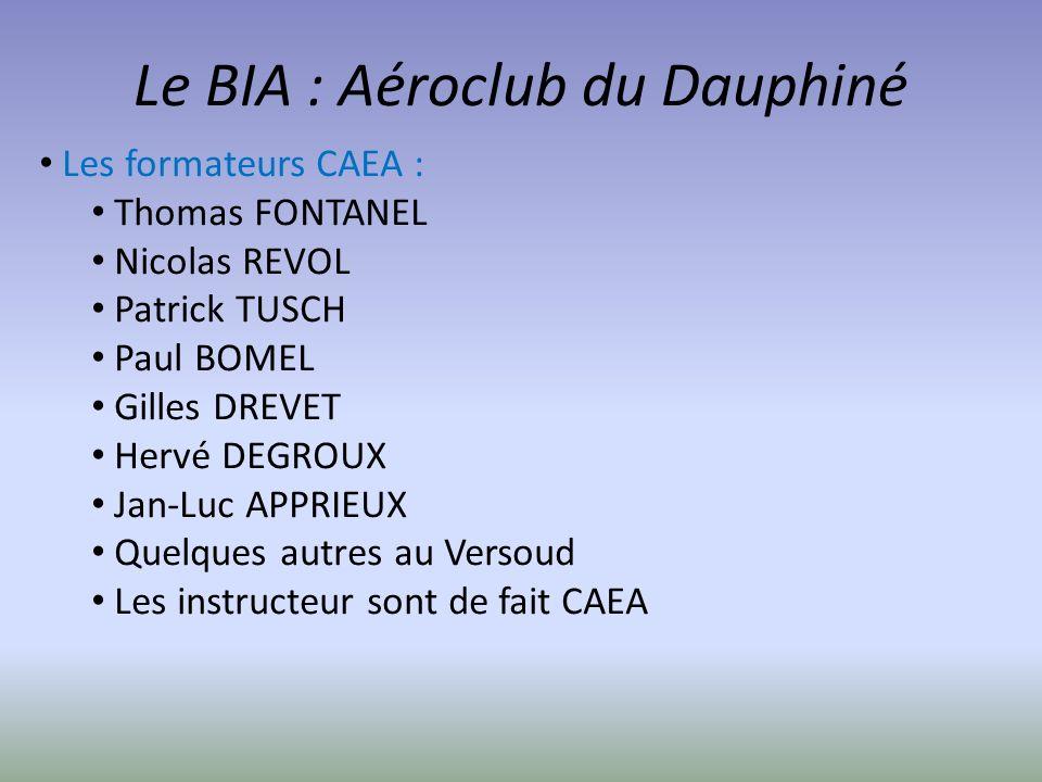 Le BIA : Aéroclub du Dauphiné Les formateurs CAEA : Thomas FONTANEL Nicolas REVOL Patrick TUSCH Paul BOMEL Gilles DREVET Hervé DEGROUX Jan-Luc APPRIEU
