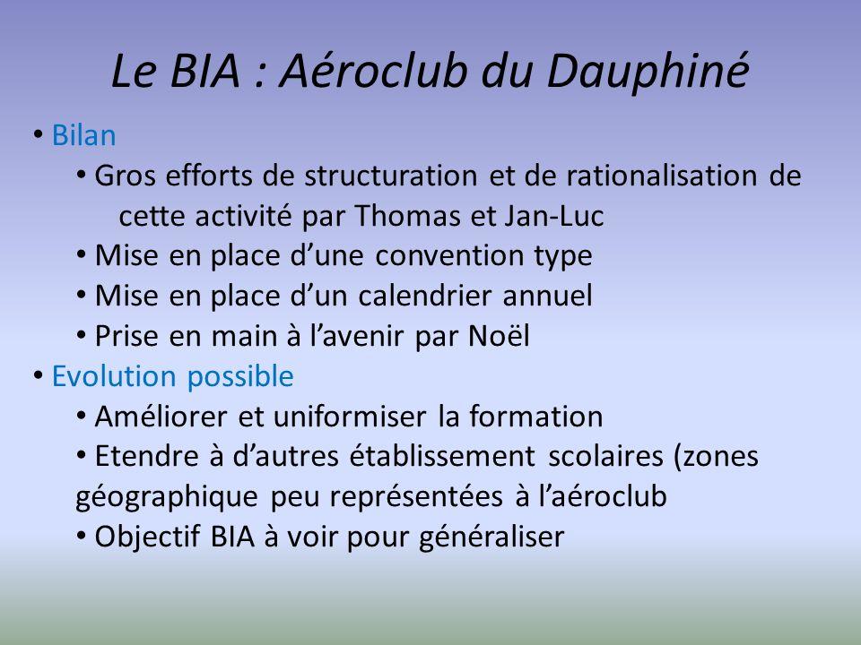 Le BIA : Aéroclub du Dauphiné Bilan Gros efforts de structuration et de rationalisation de cette activité par Thomas et Jan-Luc Mise en place dune con