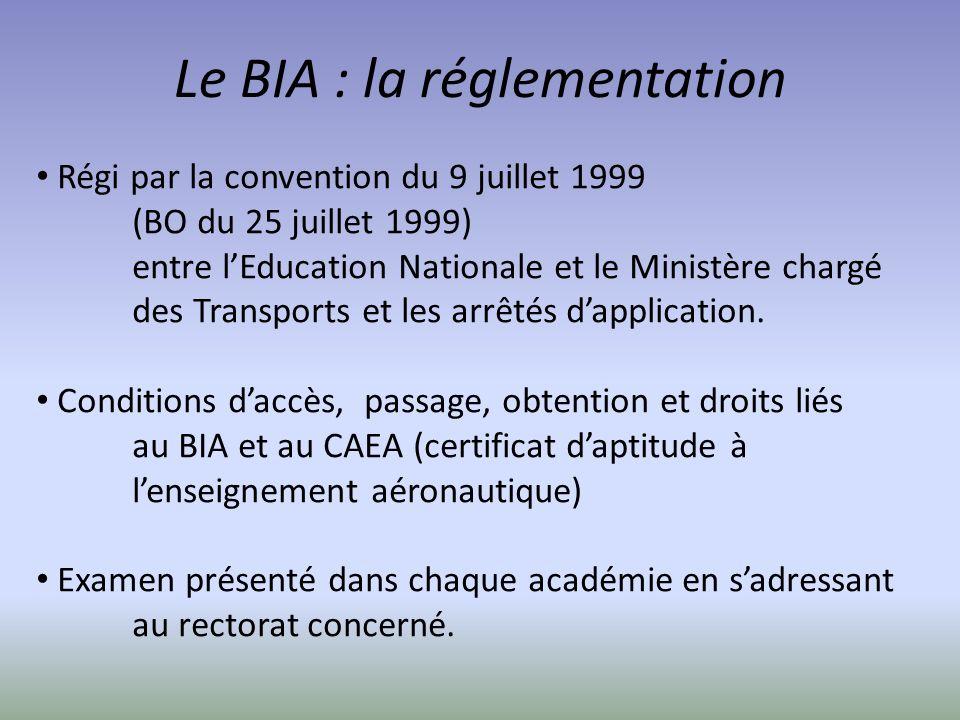 Le BIA : la réglementation Régi par la convention du 9 juillet 1999 (BO du 25 juillet 1999) entre lEducation Nationale et le Ministère chargé des Tran