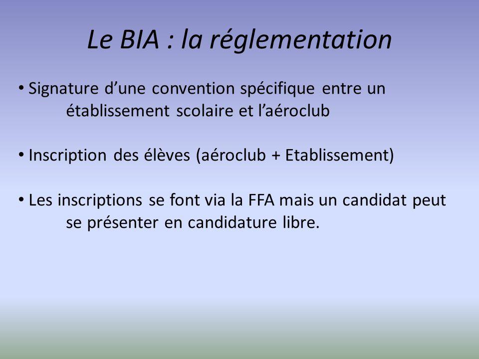 Le BIA : la réglementation Signature dune convention spécifique entre un établissement scolaire et laéroclub Inscription des élèves (aéroclub + Etabli