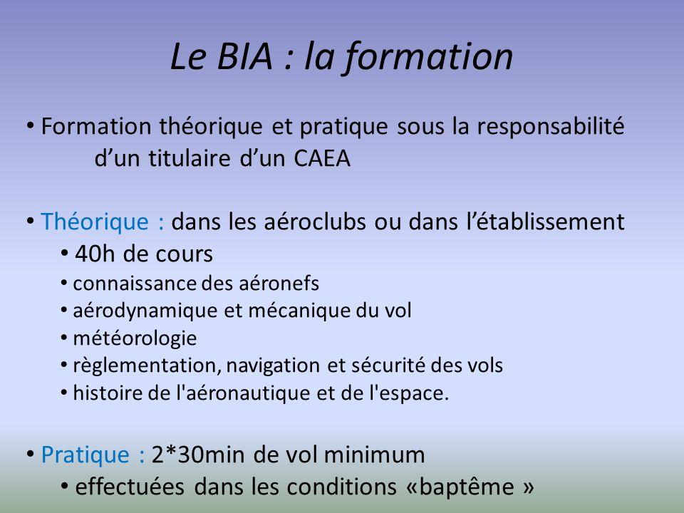 Le BIA : la formation Formation théorique et pratique sous la responsabilité dun titulaire dun CAEA Théorique : dans les aéroclubs ou dans létablissem