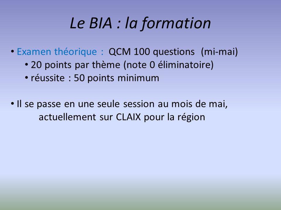 Le BIA : la formation Examen théorique : QCM 100 questions (mi-mai) 20 points par thème (note 0 éliminatoire) réussite : 50 points minimum Il se passe