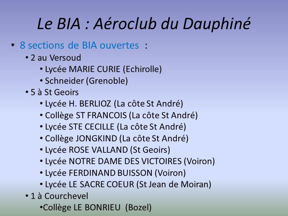 Le BIA : Aéroclub du Dauphiné 8 sections de BIA ouvertes : 2 au Versoud Lycée MARIE CURIE (Echirolle) Schneider (Grenoble) 5 à St Geoirs Lycée H. BERL