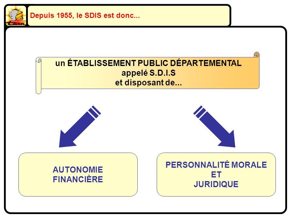 Depuis 1955, le SDIS est donc... un ÉTABLISSEMENT PUBLIC DÉPARTEMENTAL appelé S.D.I.S et disposant de... AUTONOMIE FINANCIÈRE PERSONNALITÉ MORALE ET J