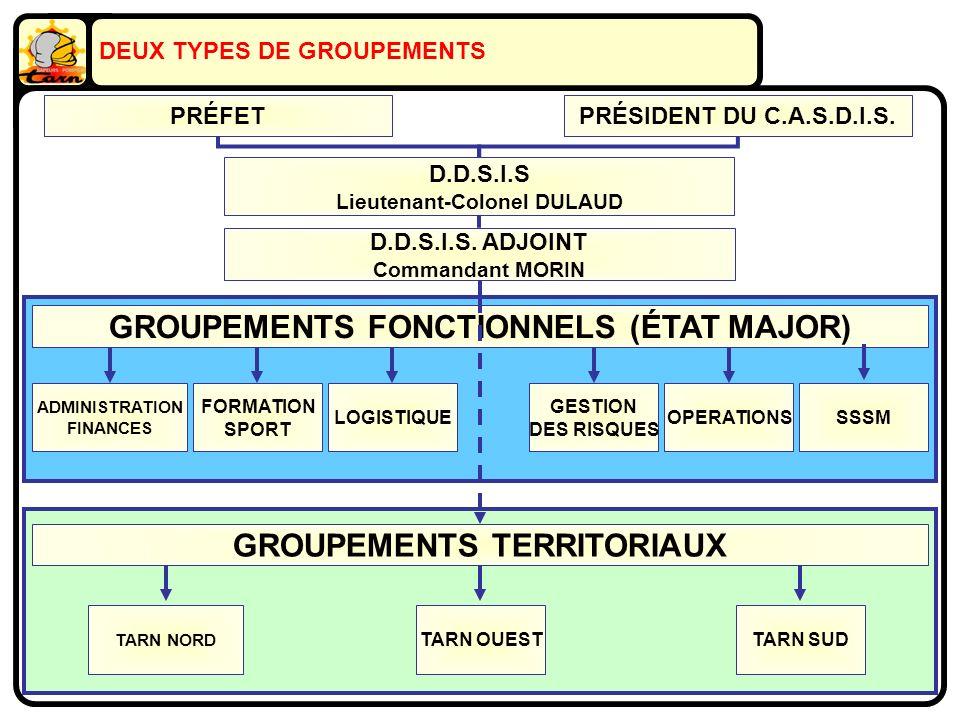 GROUPEMENTS TERRITORIAUX GROUPEMENTS FONCTIONNELS (ÉTAT MAJOR) D.D.S.I.S Lieutenant-Colonel DULAUD ADMINISTRATION FINANCES FORMATION SPORT LOGISTIQUE GESTION DES RISQUES OPERATIONSSSSM TARN NORD TARN OUESTTARN SUD DEUX TYPES DE GROUPEMENTS PRÉFETPRÉSIDENT DU C.A.S.D.I.S.