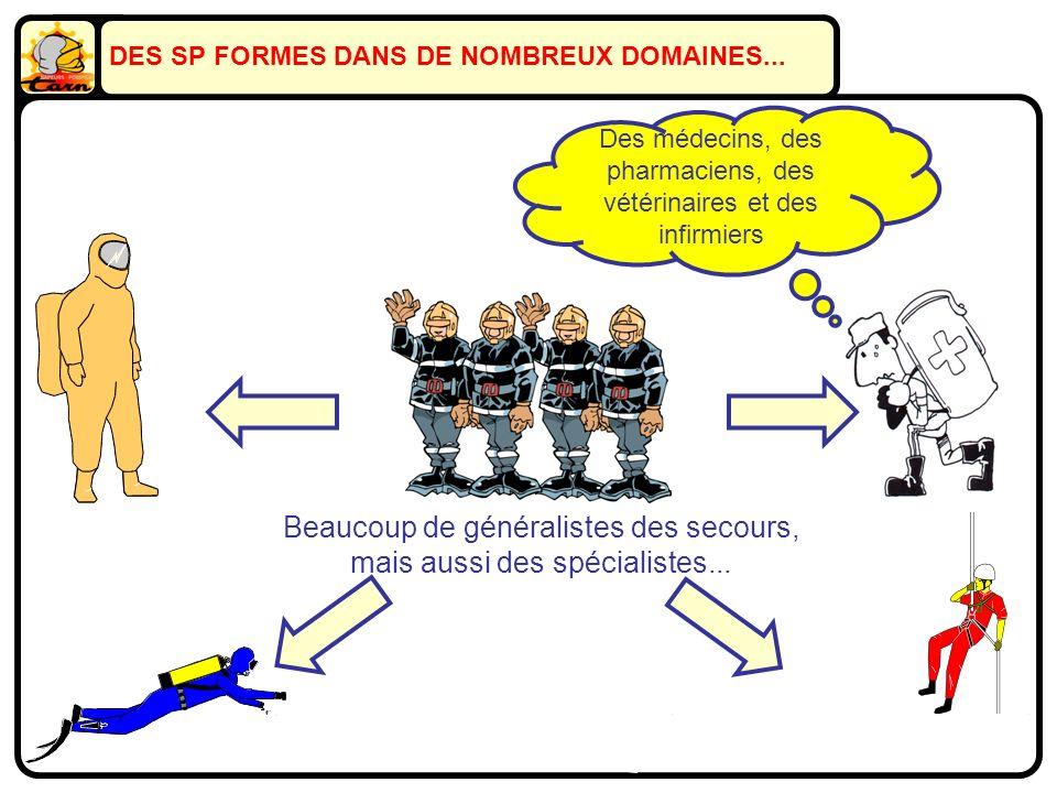 DES SP FORMES DANS DE NOMBREUX DOMAINES... Beaucoup de généralistes des secours, mais aussi des spécialistes... En sauvetage déblaiement... En sauveta