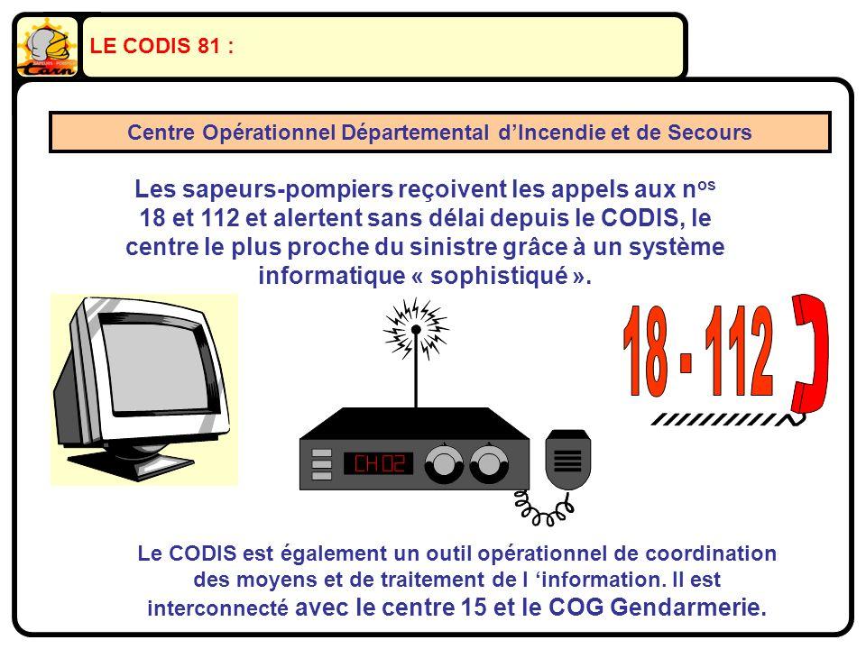 LE CODIS 81 : Centre Opérationnel Départemental dIncendie et de Secours Les sapeurs-pompiers reçoivent les appels aux n os 18 et 112 et alertent sans délai depuis le CODIS, le centre le plus proche du sinistre grâce à un système informatique « sophistiqué ».