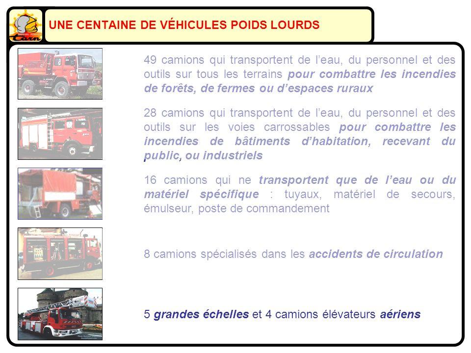16 camions qui ne transportent que de leau ou du matériel spécifique : tuyaux, matériel de secours, émulseur, poste de commandement 28 camions qui tra
