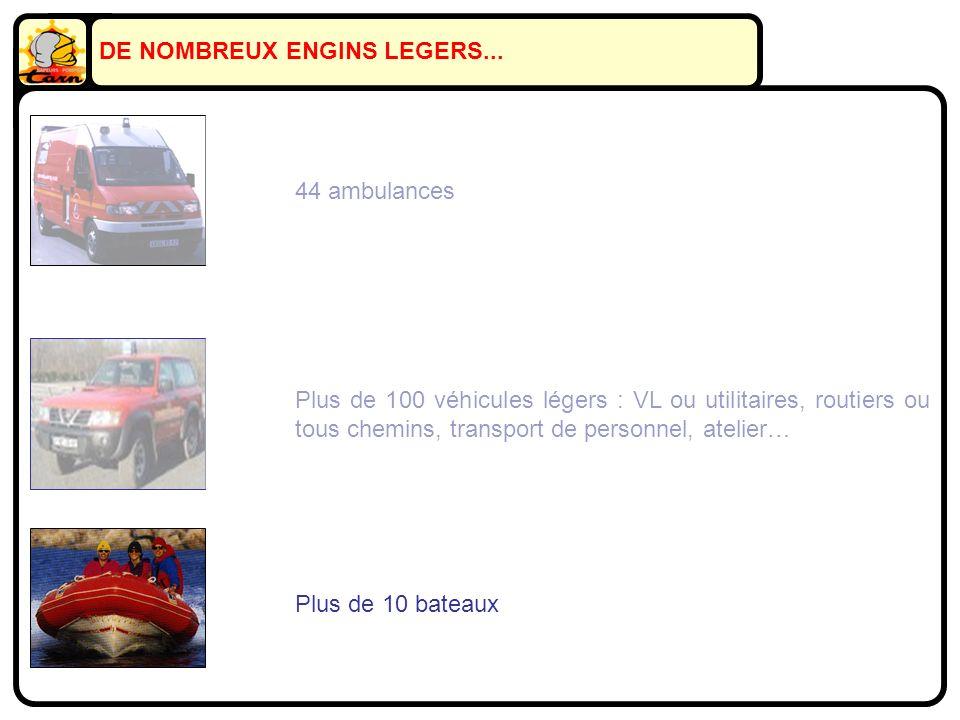 Plus de 100 véhicules légers : VL ou utilitaires, routiers ou tous chemins, transport de personnel, atelier… Plus de 10 bateaux 44 ambulances DE NOMBREUX ENGINS LEGERS...
