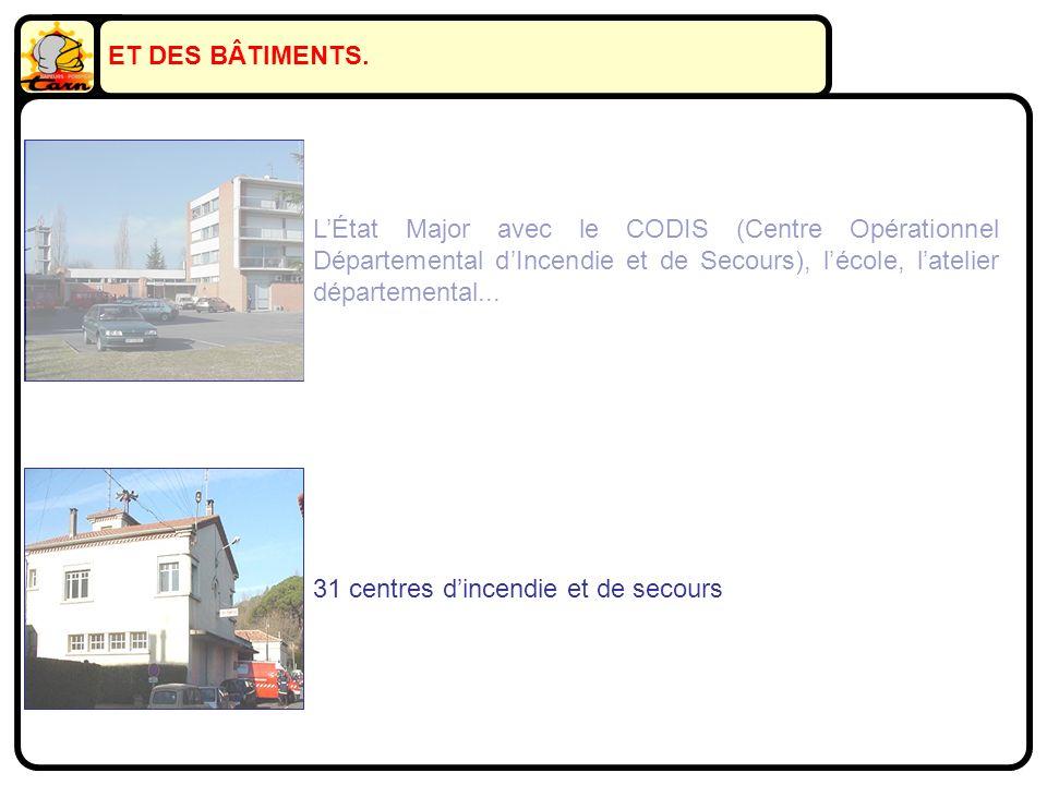 LÉtat Major avec le CODIS (Centre Opérationnel Départemental dIncendie et de Secours), lécole, latelier départemental... 31 centres dincendie et de se