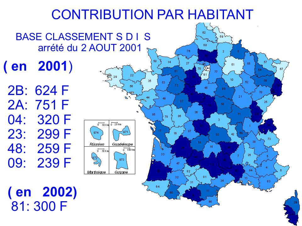 . b. CONTRIBUTION PAR HABITANT BASE CLASSEMENT S D I S arrété du 2 AOUT 2001 ( en 2001) 2B: 624 F 2A: 751 F 04: 320 F 23: 299 F 48: 259 F 09: 239 F (