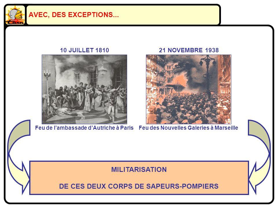 AVEC, DES EXCEPTIONS... MILITARISATION DE CES DEUX CORPS DE SAPEURS-POMPIERS 21 NOVEMBRE 1938 Feu des Nouvelles Galeries à Marseille 10 JUILLET 1810 F