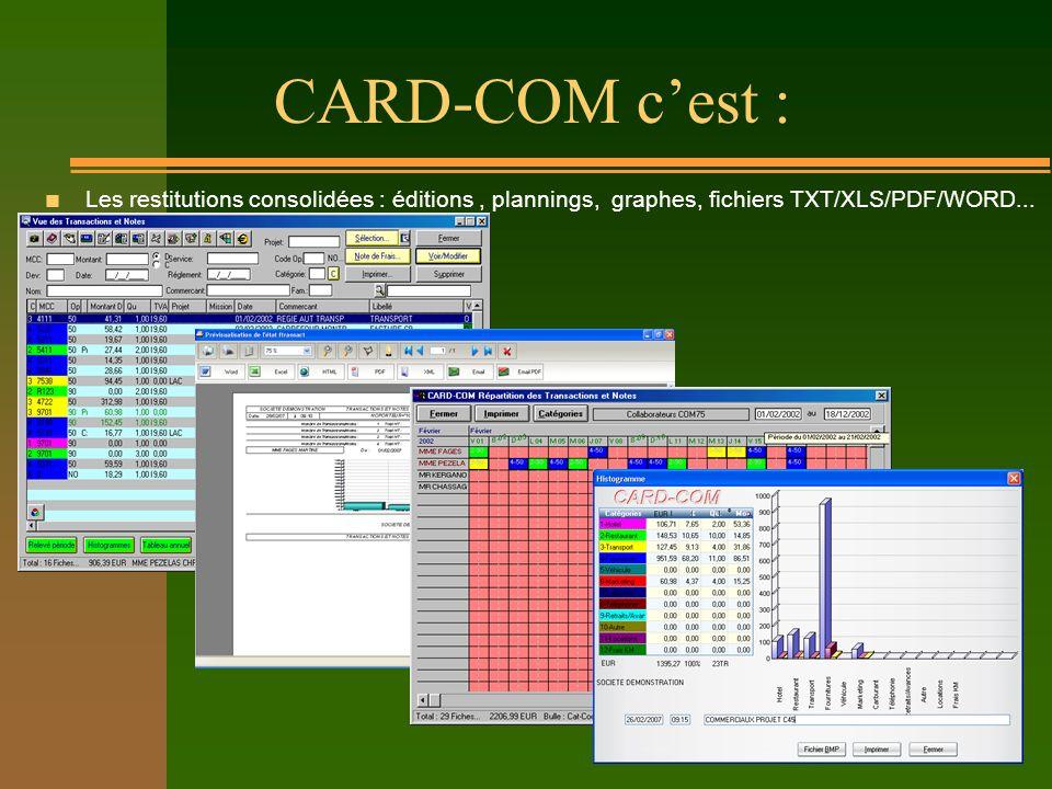 CARD-COM cest : n Les restitutions consolidées : éditions, plannings, graphes, fichiers TXT/XLS/PDF/WORD...