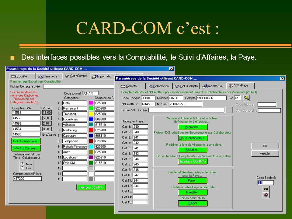 CARD-COM cest : n Des interfaces possibles vers la Comptabilité, le Suivi dAffaires, la Paye.