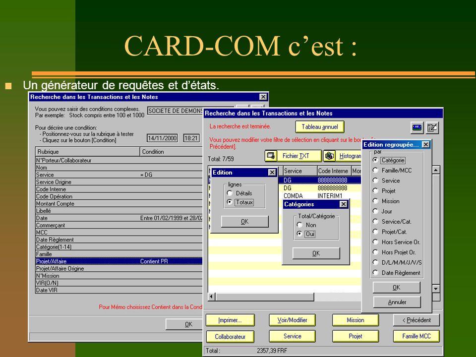CARD-COM cest : n Un générateur de requêtes et détats.