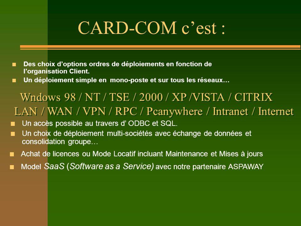 CARD-COM cest : n Des choix doptions ordres de déploiements en fonction de lorganisation Client. n Un déploiement simple en mono-poste et sur tous les