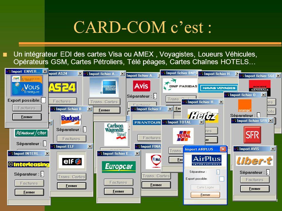 CARD-COM cest : n Un intégrateur EDI des cartes Visa ou AMEX, Voyagistes, Loueurs Véhicules, Opérateurs GSM, Cartes Pétroliers, Télé péages, Cartes Ch