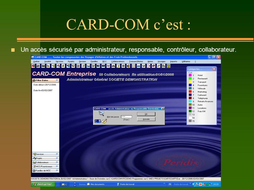 CARD-COM cest : n Un accès sécurisé par administrateur, responsable, contrôleur, collaborateur.