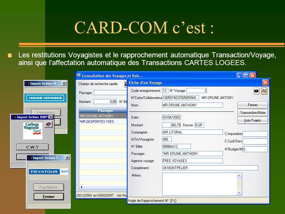 CARD-COM cest : n Les restitutions Voyagistes et le rapprochement automatique Transaction/Voyage, ainsi que laffectation automatique des Transactions