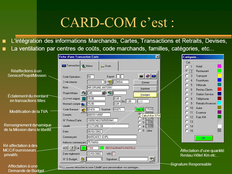 CARD-COM cest : n Lintégration des informations Marchands, Cartes, Transactions et Retraits, Devises, n La ventilation par centres de coûts, code marc