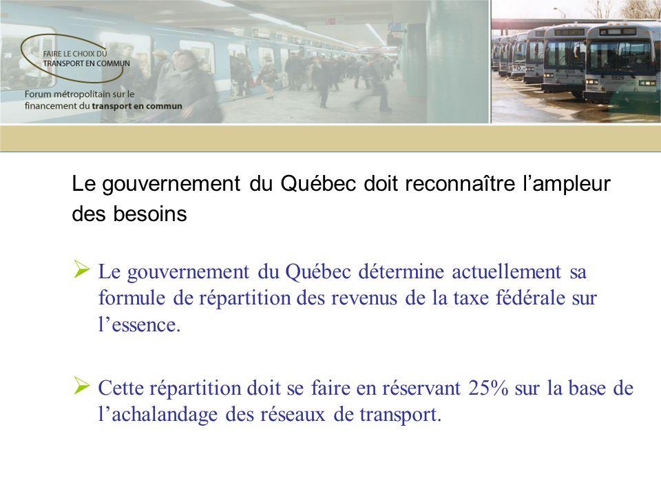 Le gouvernement du Québec doit reconnaître lampleur des besoins Le gouvernement du Québec détermine actuellement sa formule de répartition des revenus
