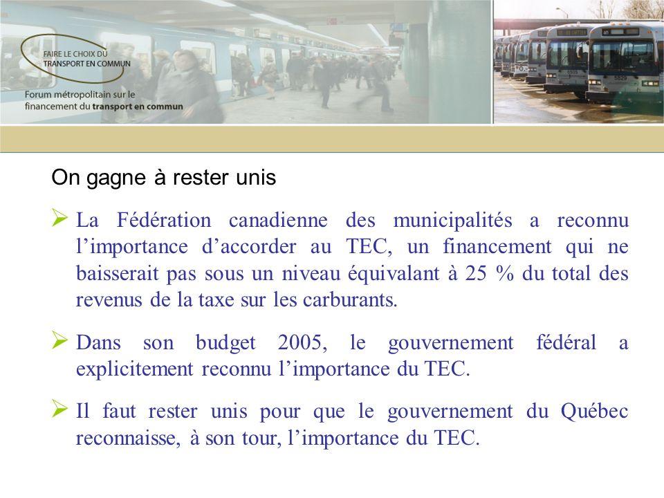On gagne à rester unis La Fédération canadienne des municipalités a reconnu limportance daccorder au TEC, un financement qui ne baisserait pas sous un