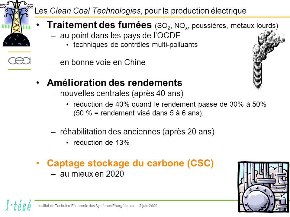 5 Institut de Technico-Economie des Systèmes Energétiques – 3 juin 2009 CSC dans la lutte contre le réchauffement climatique Pour atteindre le « facteur 4 » à lhorizon 2050, lAIE met en avant : 1.Efficacité énergétique (dont rendements ) contribuera pour 54 % à leffort de réduction 2.Développement énergie nucléaire et énergies renouvelables 27% 3.Recours au CSC 19 % (10% secteur électrique)