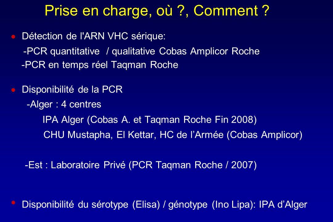 Prise en charge, où ?, Comment ? Détection de l'ARN VHC sérique: -PCR quantitative / qualitative Cobas Amplicor Roche -PCR en temps réel Taqman Roche