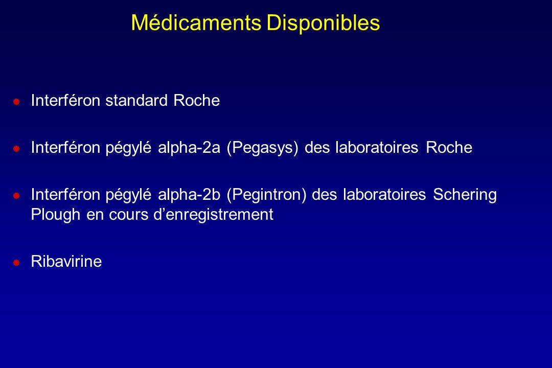 Médicaments Disponibles Interféron standard Roche Interféron pégylé alpha-2a (Pegasys) des laboratoires Roche Interféron pégylé alpha-2b (Pegintron) d
