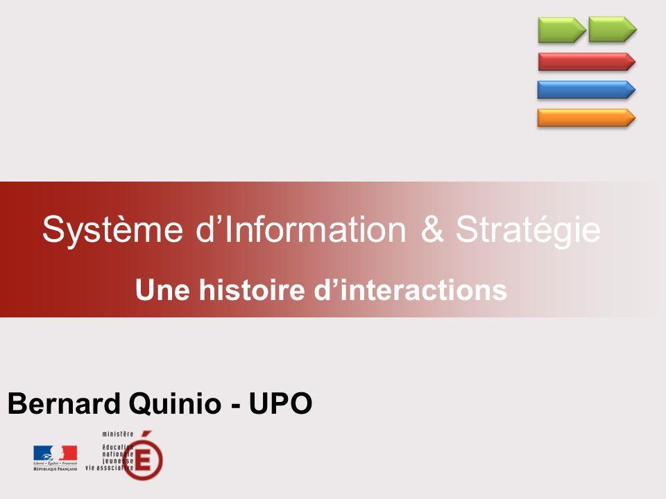 Système dInformation & Stratégie Une histoire dinteractions Bernard Quinio - UPO