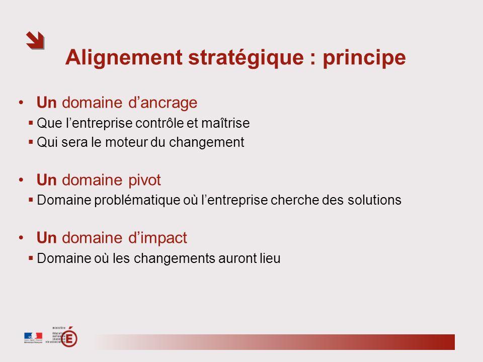 Alignement stratégique : principe Un domaine dancrage Que lentreprise contrôle et maîtrise Qui sera le moteur du changement Un domaine pivot Domaine p