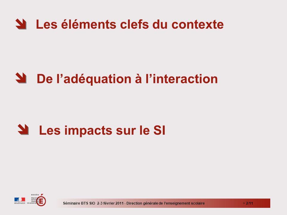 > 2/11 Les éléments clefs du contexte De ladéquation à linteraction Les impacts sur le SI Séminaire BTS SIO 2-3 février 2011 - Direction générale de l