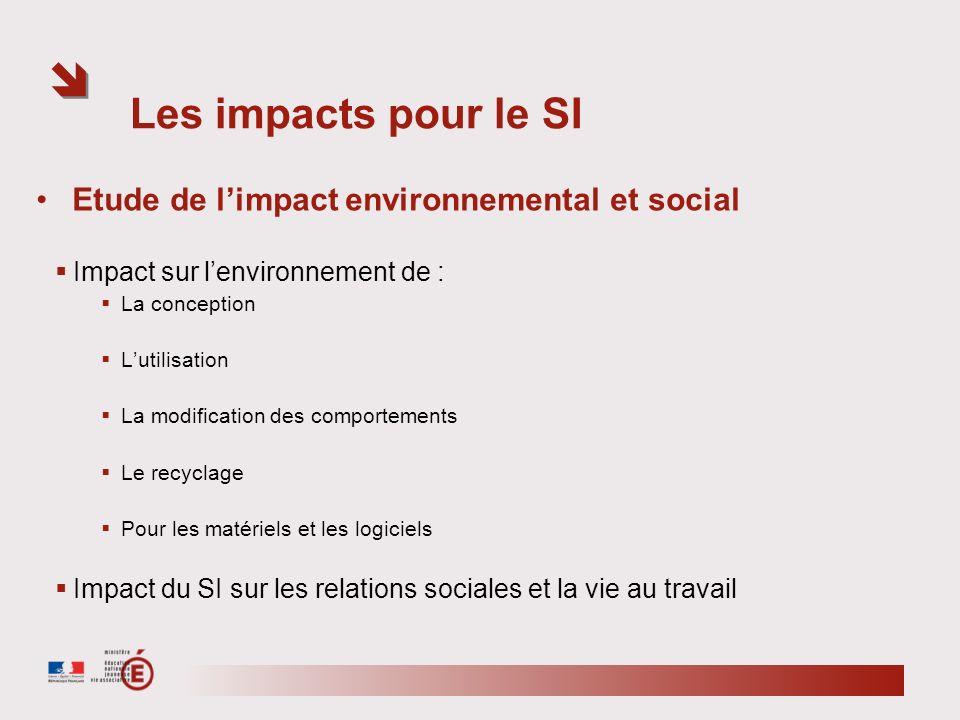 Les impacts pour le SI Etude de limpact environnemental et social Impact sur lenvironnement de : La conception Lutilisation La modification des compor