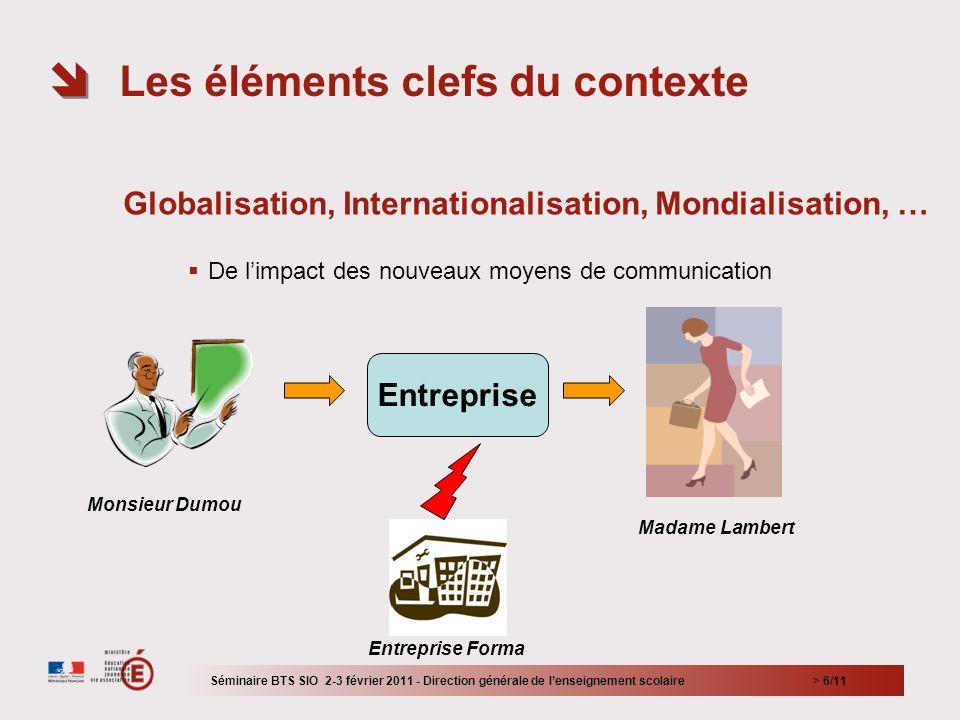> 6/11 Globalisation, Internationalisation, Mondialisation, … De limpact des nouveaux moyens de communication Les éléments clefs du contexte Séminaire