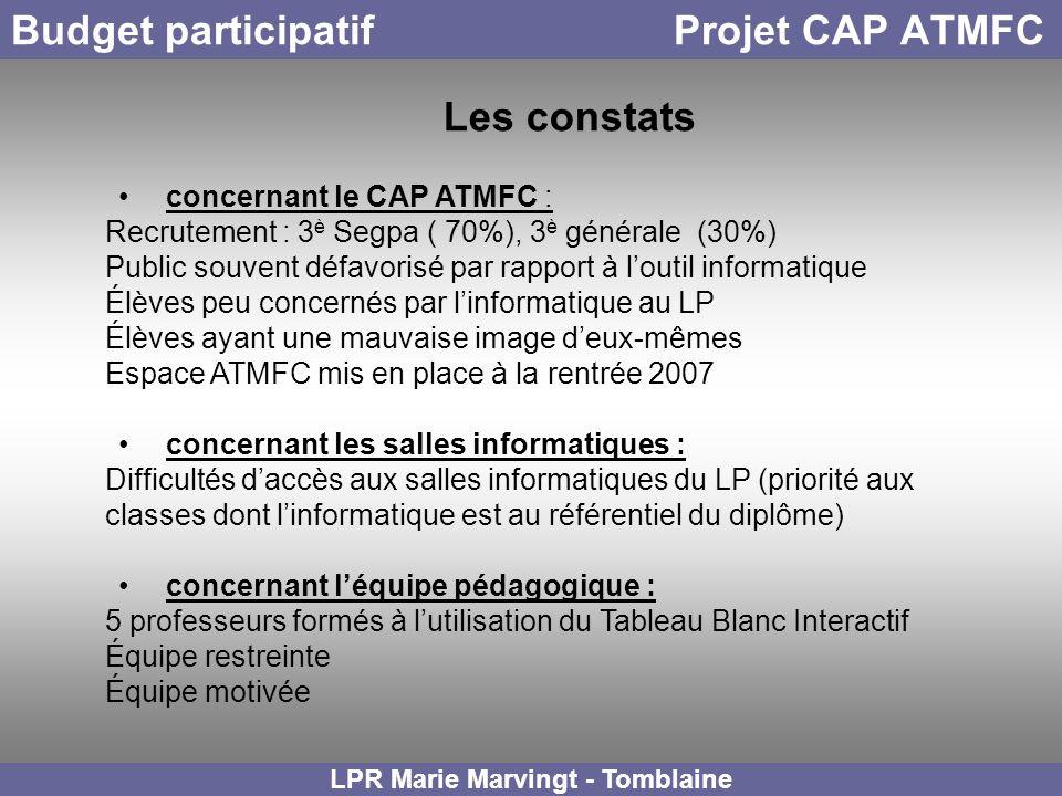 Budget participatif Projet CAP ATMFC concernant le CAP ATMFC : Recrutement : 3 è Segpa ( 70%), 3 è générale (30%) Public souvent défavorisé par rappor