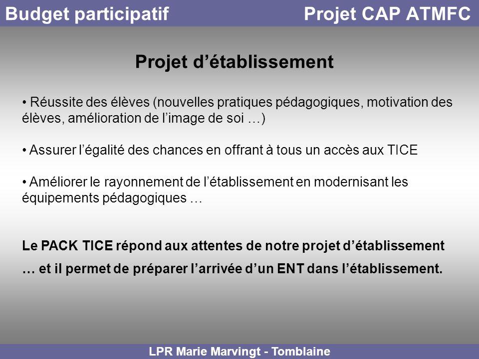 Budget participatif Projet CAP ATMFC LPR Marie Marvingt - Tomblaine Projet détablissement Réussite des élèves (nouvelles pratiques pédagogiques, motiv
