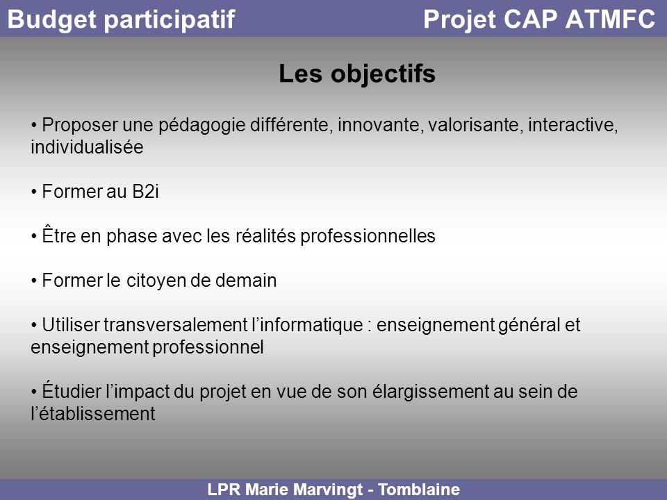 Budget participatif Projet CAP ATMFC LPR Marie Marvingt - Tomblaine Les objectifs Proposer une pédagogie différente, innovante, valorisante, interacti