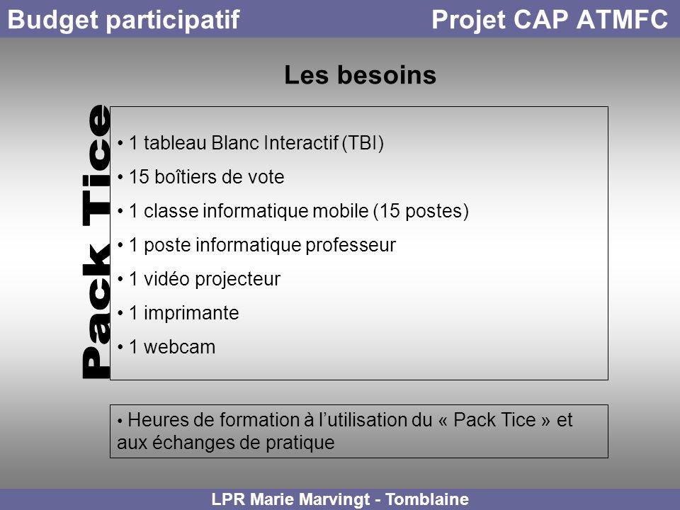 Budget participatif Projet CAP ATMFC LPR Marie Marvingt - Tomblaine Les besoins 1 tableau Blanc Interactif (TBI) 15 boîtiers de vote 1 classe informat