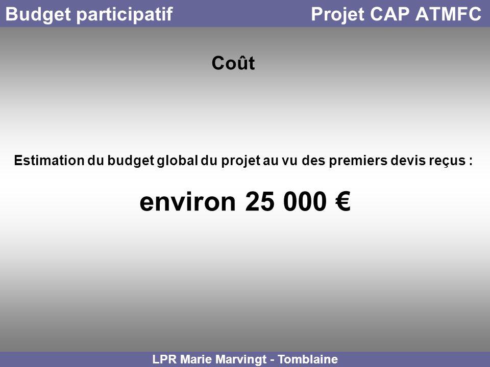 Budget participatif Projet CAP ATMFC LPR Marie Marvingt - Tomblaine Coût Estimation du budget global du projet au vu des premiers devis reçus : enviro