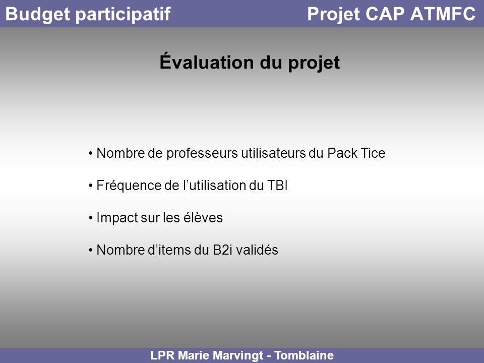 Budget participatif Projet CAP ATMFC LPR Marie Marvingt - Tomblaine Évaluation du projet Nombre de professeurs utilisateurs du Pack Tice Fréquence de