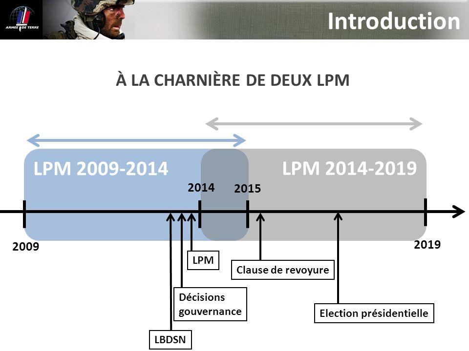 LPM 2009-2014 LPM 2014-2019 Introduction 2019 2015 2014 2009 À LA CHARNIÈRE DE DEUX LPM LBDSN LPM Clause de revoyure Décisions gouvernance Election pr