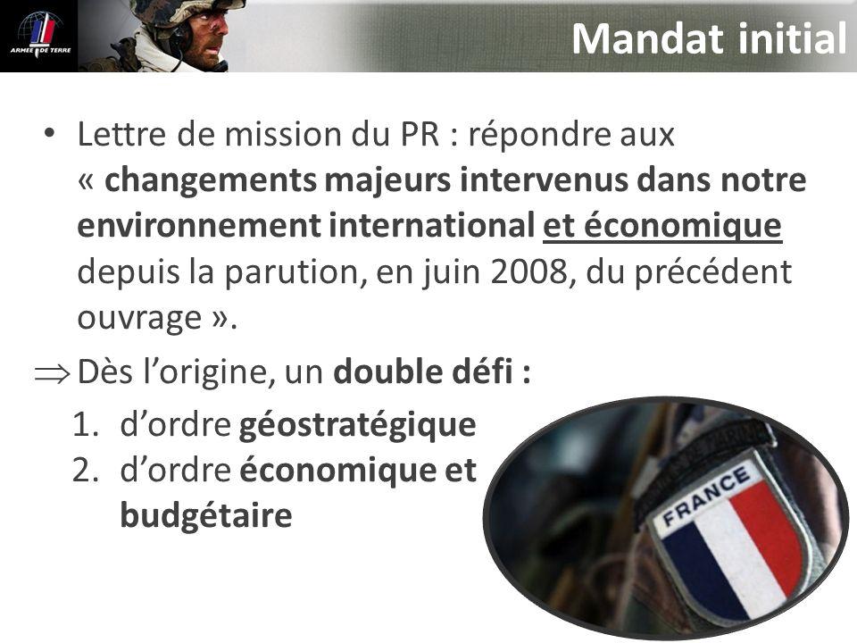 Mandat initial Lettre de mission du PR : répondre aux « changements majeurs intervenus dans notre environnement international et économique depuis la