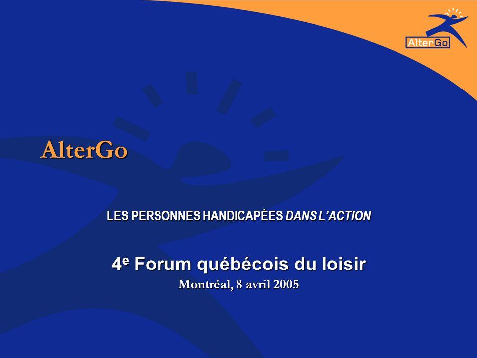 AlterGo LES PERSONNES HANDICAPÉES DANS LACTION 4 e Forum québécois du loisir Montréal, 8 avril 2005