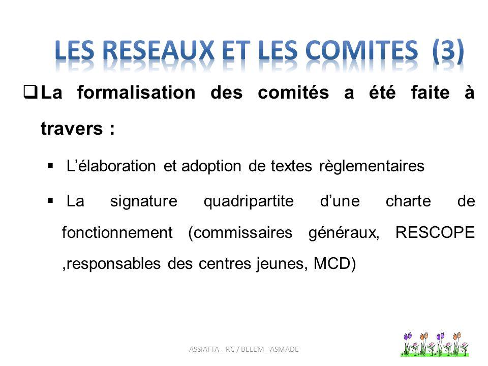 DEUX COMITES DE JEUNES Deux comités appelés commissariats représentés par des commissaires dont trois par arrondissement ont été mis en place pour la promotion de la SRAJ et des droits en santé génésique.