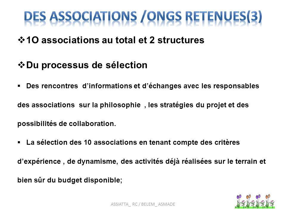 1O associations au total et 2 structures Du processus de sélection Des rencontres dinformations et déchanges avec les responsables des associations sur la philosophie, les stratégies du projet et des possibilités de collaboration.