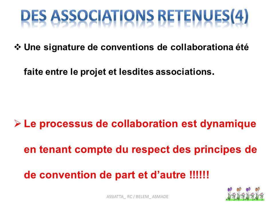 Une signature de conventions de collaborationa été faite entre le projet et lesdites associations.