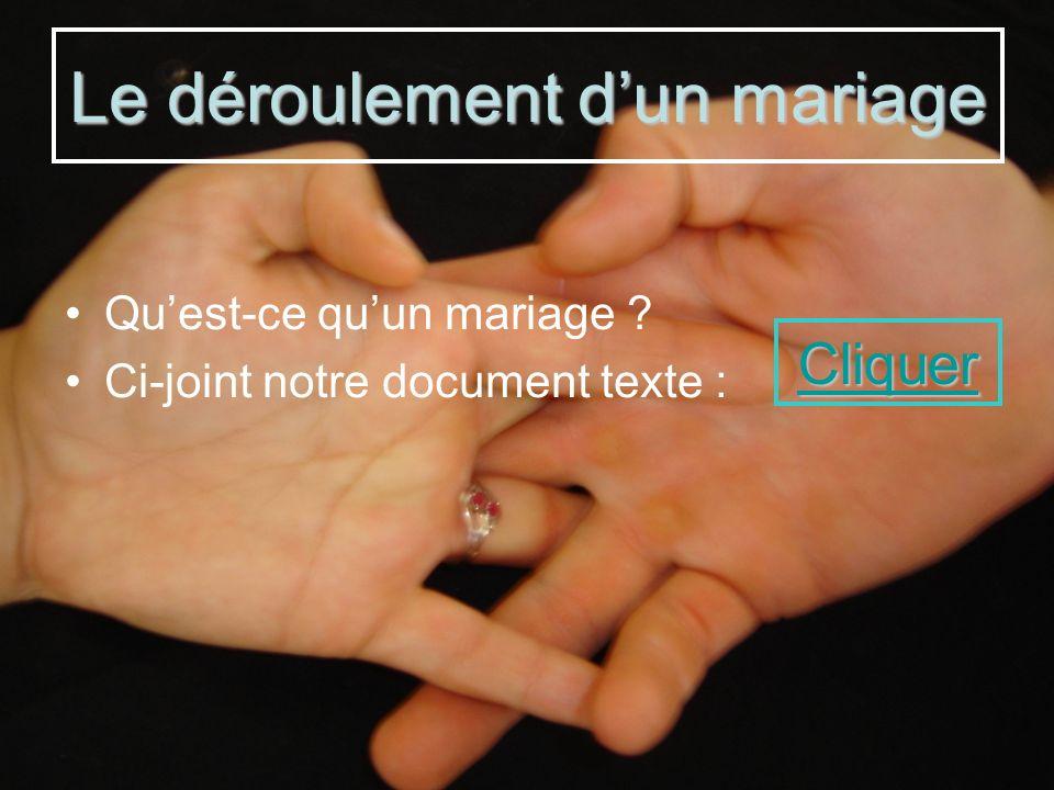 Quest-ce quun mariage ? Ci-joint notre document texte : Le déroulement dun mariage Cliquer