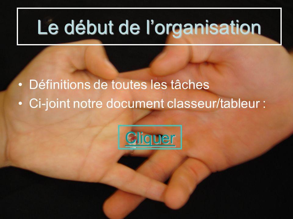 Définitions de toutes les tâches Ci-joint notre document classeur/tableur : Cliquer Le début de lorganisation