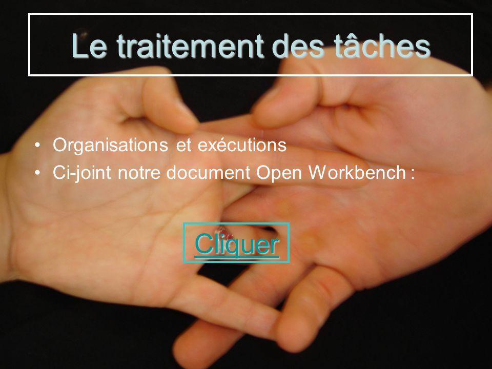 Organisations et exécutions Ci-joint notre document Open Workbench : Le traitement des tâches Cliquer